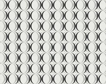 RC3748 Black White Metallic Circles Contemporary Geometric Wallpaper - Yard