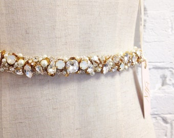 RESERVED- Crystal and Opal Bridal Belt- Narrow Bridal Belt- Swarovski Crystal Bridal Sash- Gold Bridal Sash