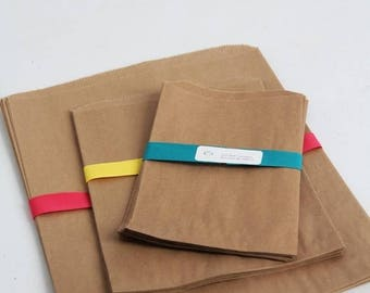 ON SALE 4 sizes- Kraft Paper Bag Assortment Pack Lot of 80
