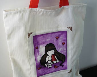 Library Bag book bag - cute little girl with love hearts and purple - Back to School