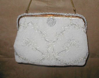 Vintage French off-white Beaded Evening Purse by JORELLE