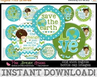 "20% OFF Save the Earth - INSTANT DOWNLOAD 1"" Bottle Cap Images 4x6 - 778"