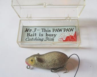 RR8: Old Paw Paw Fuzzy Mouse Series 60 vintage fish lure, tough to find size! Mint In Box!