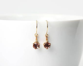 Oregon Sunstone Earrings Pink Faceted Rounds Gold Earrings