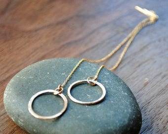 Thread Earrings - Long chain drop earrings with circles in Gold or Silver