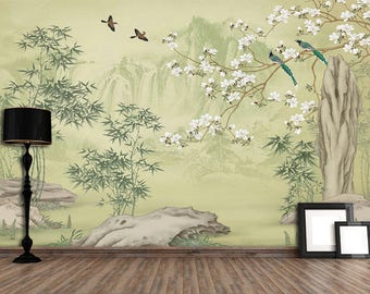 "Oriental Chinoiserie Magnolia Bamboo& Birds Wallpaper Green Pink Blossoms Wall Mural 129.5"" x 93.7"""