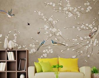 Lemon green chinoiserie wallpaper exotic birds trees flowering for Chinoiserie wallpaper mural