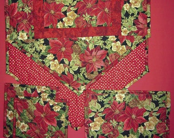 Robert Kaufman-Woodland Splendor-Window Pane pattern Handmade-Quilted-Table Runner-Table Mat-2 Hot Pads-Made in USA by MJ Quilts