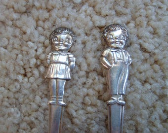 Vintage Campbells Children's Spoons (2)  Boy and Girl