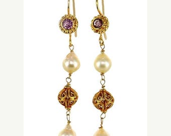 18k Gold Akoya Pearl And Pink Tourmaline Earrings