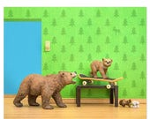 FALL SALE Woodland animals grizzly bear and cub skateboard print: Mama Grizzly