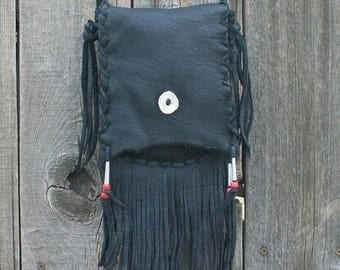 ON SALE Fringed leather purse ,  Black leather handbag ,  Leather crossbody bag ,  Leather shoulder bag