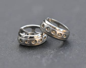 14k white gold and diamond hoop earrings - small everyday diamond hoops earrings - huggie diamond earrings