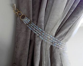Bohemian crystala tiebacks, pair (x2) of Long 4 strands decorative AB clear curtain holders, luxury home decor
