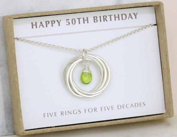 50th birthday gift august birthstone jewelry 50th birthday