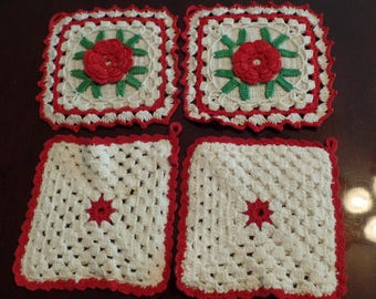 Lot of 4 Vintage Crocheted Hot Pads 5 1/2 Inches