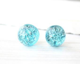 Aqua Stud Earrings - Nickel Free Titanium Posts, Foil Glass, Turquoise Blue Jewelry Medium Size