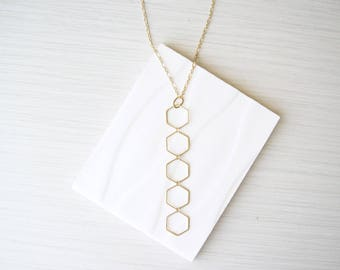 Long Y Necklace, Brass Jewelry, Geometric, Gold Toned, Modern, Layering, Hexagon, Boho, Bohemian, Contemporary