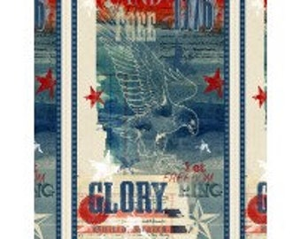 "Land of Liberty from Wilmington Prints - 23.5"" x 44"" Patriotic Panel - United States - Eagle - Let Freedom Ring - Glory - July 4th"