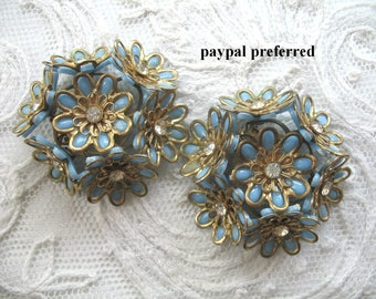 Vintage Plastic & Rhinestone Flower Earrings ~ Blue And Gold Flowers ~ Clip On