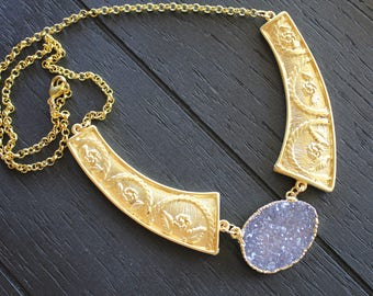 Amethyst Necklace Amethyst Jewelry Druzy Necklace Druzy Jewelry Gold Druzy Necklace Gold Amethyst Necklace Geode Necklace Atlantis Flower