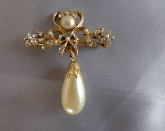 Brooch -   Brooch  - goldtone with rhinestones and dangling  pearl for use as jewelry supply