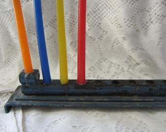 Rare Vintage Metal Hanukkah Menorah Blue and Gold Made in Israel 1950's Collectibles