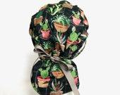 Cactus Scrub Cap, Scrub cap, Ponytail scrub hats, Scrub Hat, Scrub Caps, Scrub Hats, scrub hats for women, surgical hats, cactus, succulents