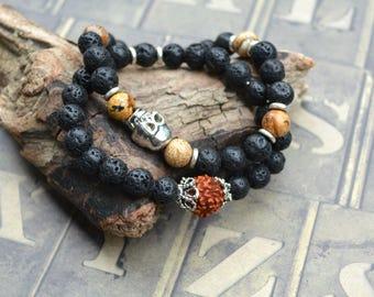 Two Skull Lava Rock Stretch Energy Bracelet Yoga Mala Beads Wrist Rudraksha Meditaion