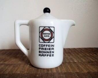 1930s Art Deco Kaffe Hag Small Porcelain Coffee Pot