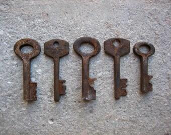 5 Small Rusty Skeleton Keys