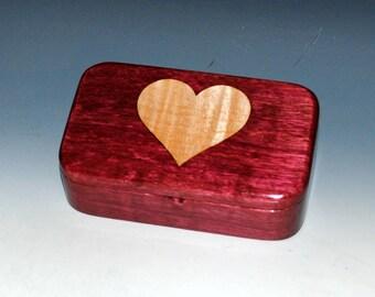 Inlaid Curly Maple Heart on Purple Heart Treasure Box - Gift Presentation Box, Keepsake or Trinket Box,Jewelry Box by BurlWoodBox, Heart Box