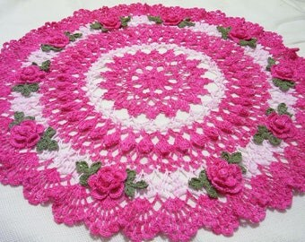 x-large hand dyed pink roses  centerpiece doily