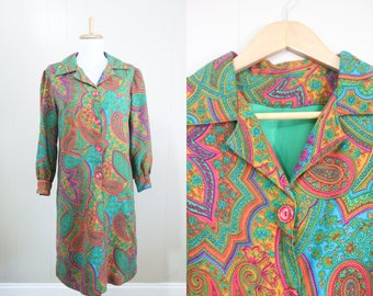 Groovy Dress Vintage Paisley Psychedelic 1970s Hippie Shift Medium