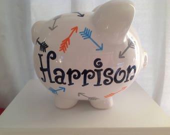 Personalized Large Piggy Bank Navy, Orange, aqua  grey Arrows-Boys ,Newborns Baby Shower,Christening , Baptism, Flower Girl Gift Centerpiece