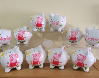 2 Add ons Personalized Peppa Pig Party Favor Piggy Banks- 1st Birthday Christening , Communion
