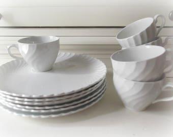 Vintage Ironstone Snack Sets, Cups and Plates, Farmhouse Decor, Bridal Shower China, Wedding Decor