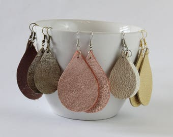 Metallic Leather Teardrop Earrings