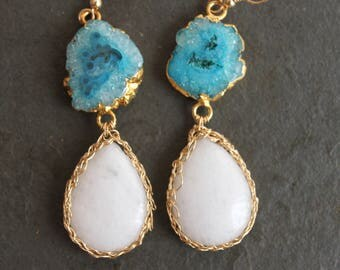 Athena. Blue Druzy. 14kt Gold Crochet. OOAK