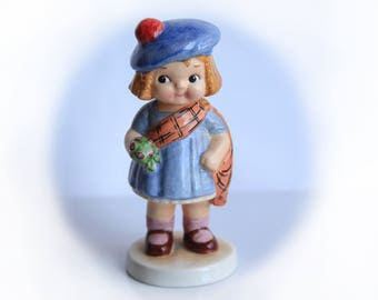 Goebel Rare Dolly Dingle Girl in Scotland Porcelain Figurine Doll W Gerrmany Signed GG Grace Drayton 1983 Cambell Soup Kid