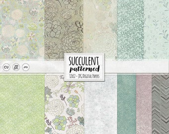 Succulent Digital Paper Patterns, Shabby Chic Floral Background Paper, Organic Chevron, Lightly Textured Digital Scrapbook Paper