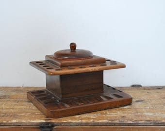 Vintage Pipe Stand and Humidor Build-Rite 14 Pipes Wooden Holder