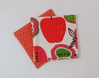 Mod Apple Fabric Coasters Pair Mug Mats Set of Two
