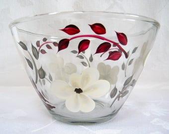 Serving bowl, hand painted serving bowl, large serving bowl, serving bowl with ivory flowers, kitchen bowl
