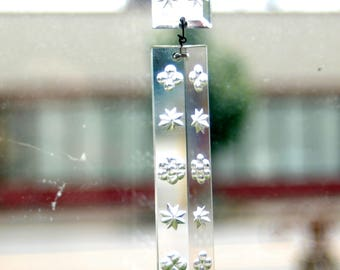 """Antique French 2 piece Rectangle Etched / Cut  Snowflake / Floral 19th Century 4.5"""" Hanging Crystal Prisms ~ 33 Antique Crystals Available"""