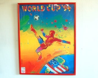1994 Original Peter Max Pop Art Soccer World Cup Poster Print with Original Red Frame & Label ~ 1994 U.S.A Host Cities ~  Bright and Crisp