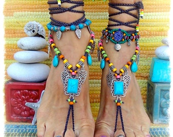 Reserved for Connie. TURQUOISE Summer BAREFOOT Sandals FESTIVAL sandal Native Cowgirl Boho Statement footwear crochet feet jewelry GPyoga