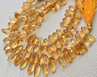 Wholesale Offer, 1/2 Strand,Super Quality NATURAL CITRINE Faceted Puffy Marquise Shape Briolettes,Gorgeous Quality, 14-13MM Size.