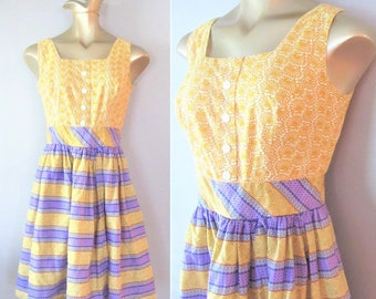 Vintage 1970's Peasant Hippie Sundress / Size Small Yellow and Purple Cotton Bohemian Style Day Dress