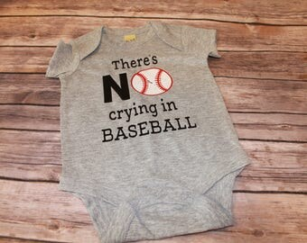 There's no crying in baseball boys shirt, boys baseball shirt, baby boy baseball outfit, baby boy shirt, baby shower gift, baseball shirt